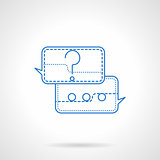 Question and  answer blue flat line vector icon