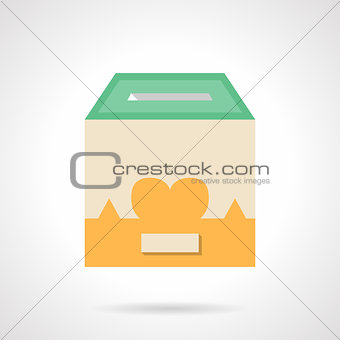 Flat color container for donations vector icon
