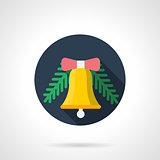 Round flat color vector icon for Xmas bell