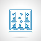 Snowfall out a window blue line vector icon