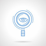Blue flat line magnifier and eye vector icon