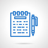 Notes vector icon blue simple line style