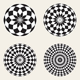 Set of Four Vector Black White Spirograph Circle Geometric Design Elements
