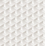 Vector Seamless White  Geometric Cube Gradient Shaded Dimensional Pattern
