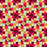 Vector Seamless Geometric Square Triangle Shapes Yellow Pink Brown  Pattern