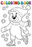 Coloring book ice skating bear