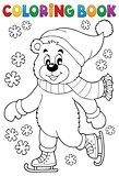 Coloring book ice skating bear