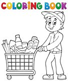 Coloring book man with shopping cart