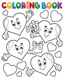 Coloring book stylized hearts theme 1