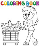 Coloring book woman with shopping cart