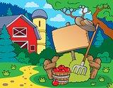 Farm theme with sign