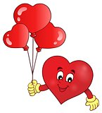 Stylized heart holding balloons theme 1