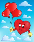 Stylized heart holding balloons theme 2
