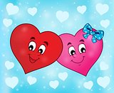 Two overlapping stylized hearts theme 2