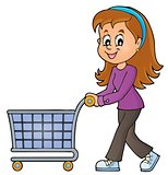 Woman with empty shopping cart