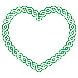 Celtic pattern green heart shape - love concept fot St Patrick's Day, Valentines