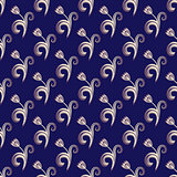 Dark blue seamless floral pattern