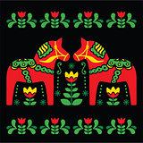 Swedish Dala or Daleclarian horse folk art pattern on black background