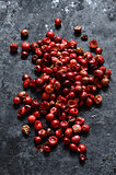 Pink peppercorns close up