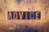 Advice Concept Wooden Letterpress Type