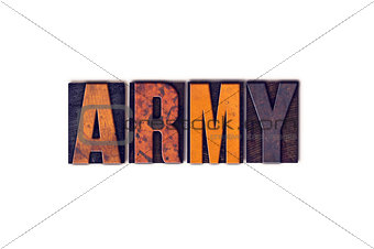 Army Concept Isolated Letterpress Type