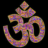 Om symbol on black background