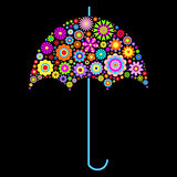 floral umbrella on black background