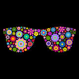 floral eyeglasses on black background