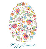floral colorful easter egg on white background