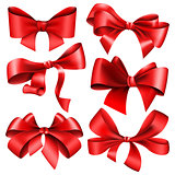 Set of 6 red bow