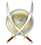 Shield and crossed scimitar swords