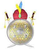 Shield and crossed scimitar swords with turban