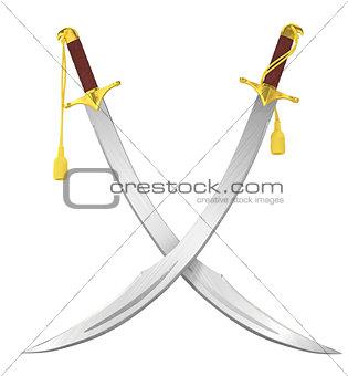 Crossed arabian scimitar swords