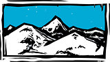 Color Woodcut Mountain