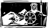Woodcut Viking and Mountain