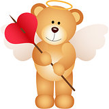 Cupid teddy bear with heart