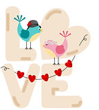 Cute couple birds with love word letters