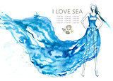 Fashion model woman with blue sea dress. Abstract vector illustration, EPS10.