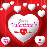 Valentine's Day and white hearts on red background. Vector Valentine's Day Background.