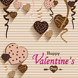 Valentine's Day and Heart chocolate Party on colorful background. Vector Party Heart chocolate and full heart on colorful Background.