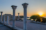 Ruins of ancient greek colony Khersones. Sunset, Sevastopol,Crimea