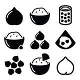 Hummus or houmous , chickpeas vector icons set