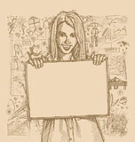 Sketch Happy Woman Holding Blank White Card Against Love Story B