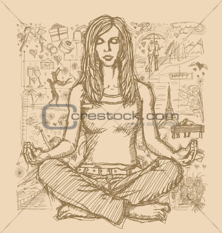 Sketch Woman Meditation In Lotus Pose Against Love Story Backgro