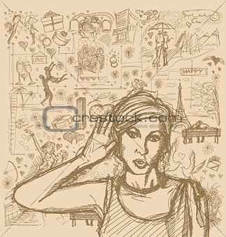 Sketch Woman Overhearing Something Against Love Story Background