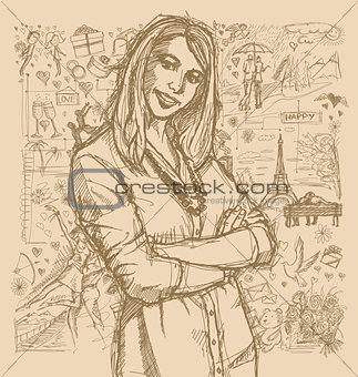 Sketch Woman With Crossed Hands Against Love Story Background