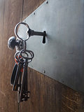 old keys in a door lock