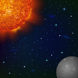 Space background with Mercury and Sun