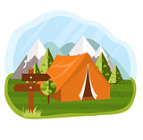 Vector flat illustration camping