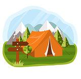 Vector flat illustration camping